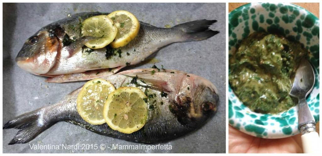 Pesce al forno con salsa verde